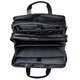 Muiska Madrid - Colombian Leather Triple Compartment Briefcase Satchel - Open Top View Expanded, Black