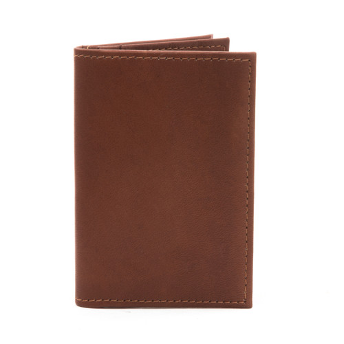 Musika Carlo - Colombian Leather Business and Credit Card Case Wallet - Front View, Saddle