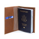 Musika Luca - Colombian Leather Passport Holder - Open Front View with Passport, Saddle