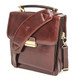 Capri Vertical Flap-Over Carry All Bag PI212005 Brown with Strap