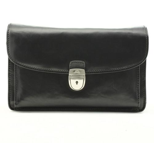 Veneto Horizontal Flap-Over Carry All Bag PI212001 Black Front