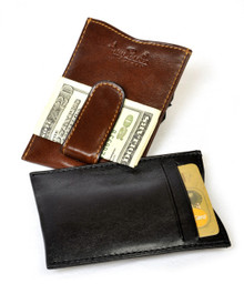 Tony Perotti Mens Italian Bull Leather Spring Tension Money Clip with Credit Card Slot