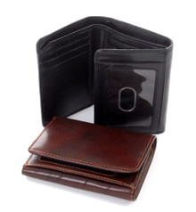 Tony Perotti Mens Italian Bull Leather Traditional Trifold Credit Card Wallet with ID Window