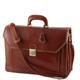 Venezia Leather Briefcase in Dark Brown