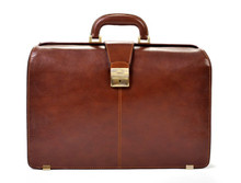 Tony Perotti Mens Italian Bull Leather Benevento Double Compartment Lawyer's Leather Laptop Briefcase