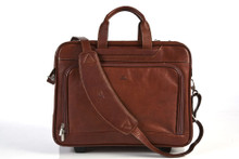 Tony Perotti Unisex Italian Cow Leather Torino Carry-on Rolling Wheeled Laptop Leather Briefcase