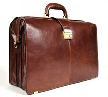 Tony Perotti Mens Italian Bull Leather Benevento Triple Compartment Lawyer's Leather Laptop Briefcase