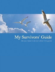 My Survivors' Guide is the ultimate organizing tool for yourself and for your loved ones. You will be surprised at how many important details can be recorded in My Survivors' Guide. Here's a partial list: All the people to contact immediately; email and online accounts, social media sites, usernames and passwords; location of important documents, financial records and valuables; suggestions for obituary, funeral and burial; financial benefits information; plans for care of children and pets; and to whom or where possessions could/should go. Begin completing your guide as soon as it arrives. You'll feel better and your loved ones will appreciate your thoughtfulness.