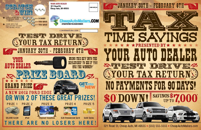 test drive your tax return mailer booklet. Black Bedroom Furniture Sets. Home Design Ideas
