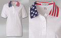 LADIES' PATRIOTIC SPORT SHIRT 100% cotton pique. Ladies' fit, solid body with stars-and-stripes knit collar and solid knit welt on shorter set-in sleeve. 3-button placket with dyed-to-match buttons, hemmed bottom. Union Made in USA.