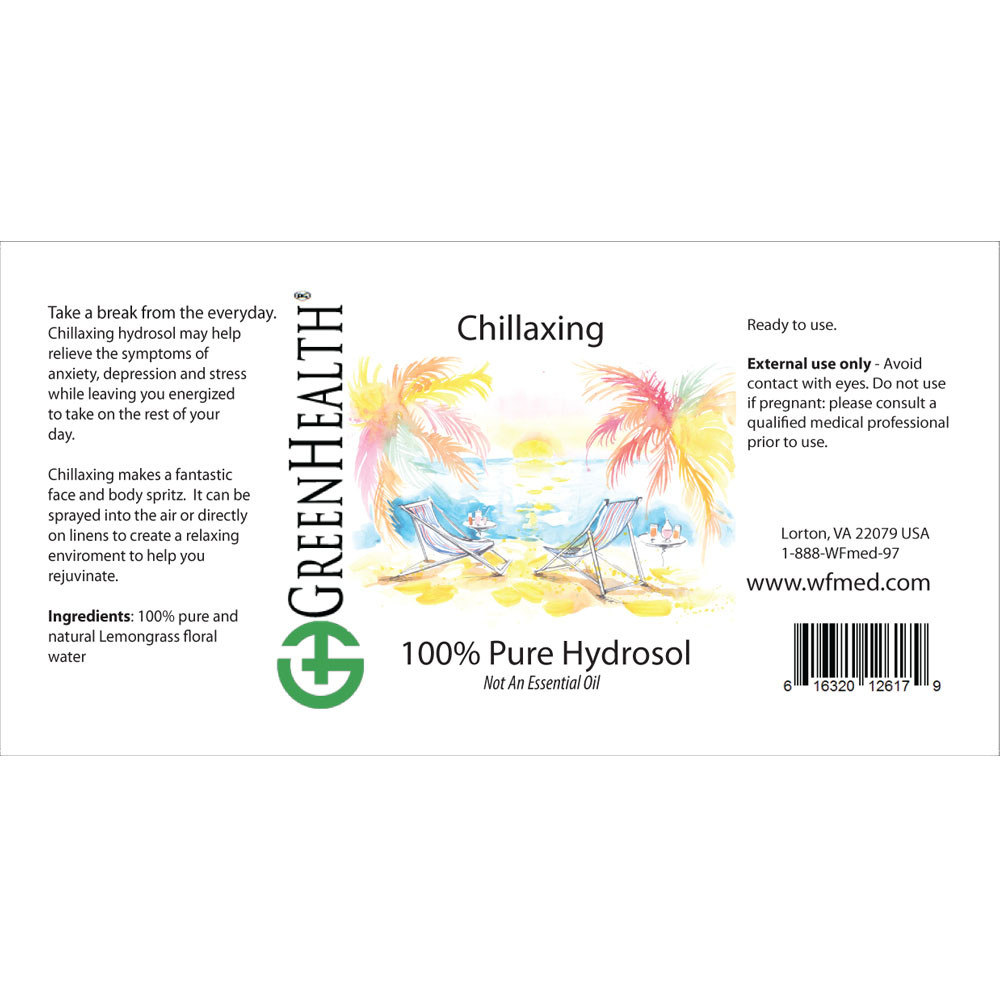 Chillaxing pure hydrosol Label
