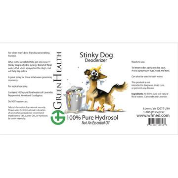 Stinky dog hydrosol blend ingredient label