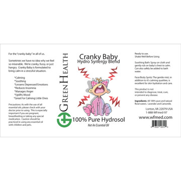 Cranky Baby hydrosol blend ingredient label