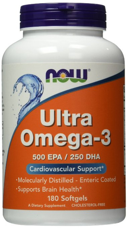 Ultra Omega-3 (500 EPA / 250 DHA) 180 Softgels - NOW Foods