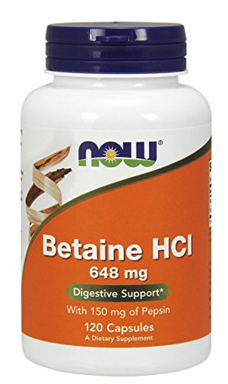 Betaine HCl, 648 mg (120 Caps) - NOW Foods