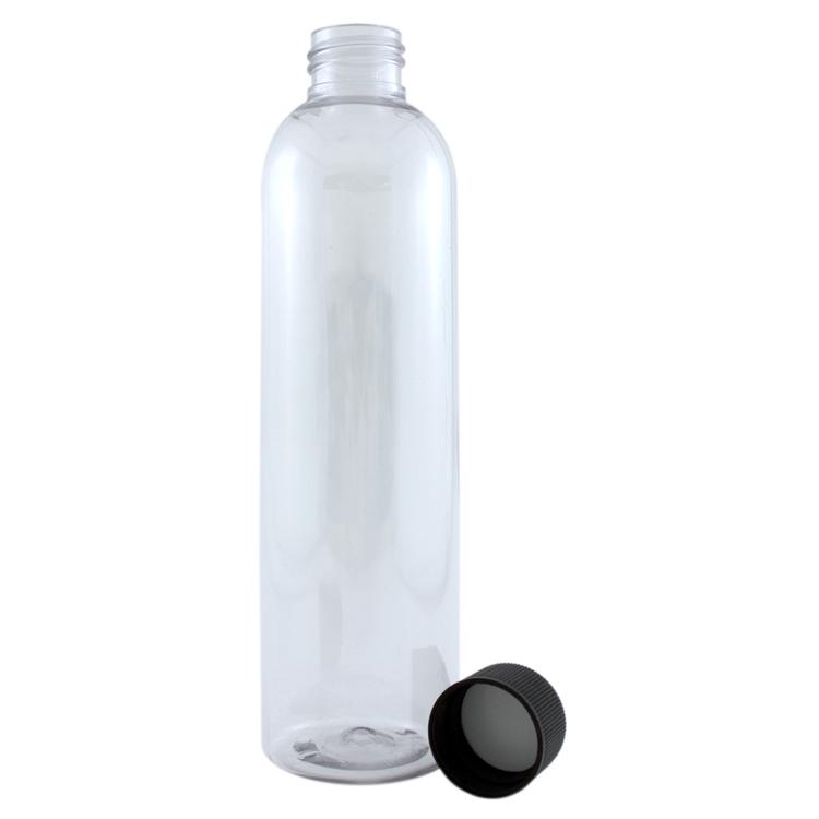 8 fl oz Clear Plastic Bottle w/ Black Cap