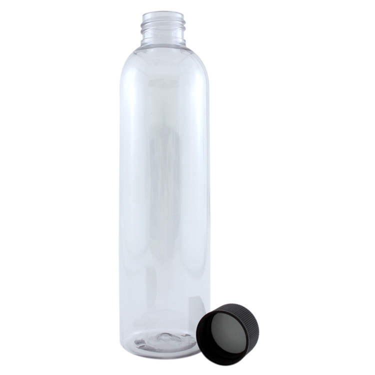 8 fl oz Clear Plastic Bottle w/ Black Dispenser Lid