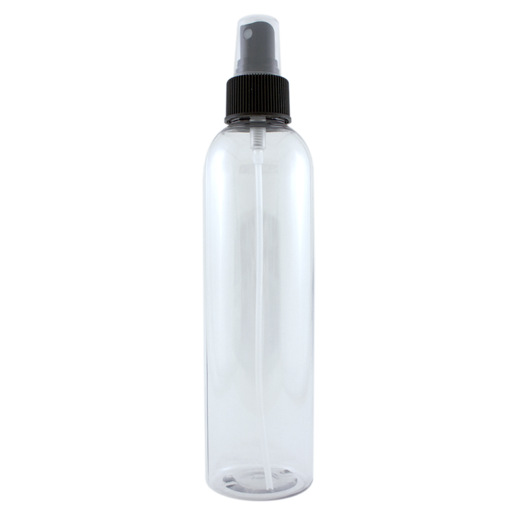 8 fl oz Clear Plastic Bottle w/ Black Spray Cap