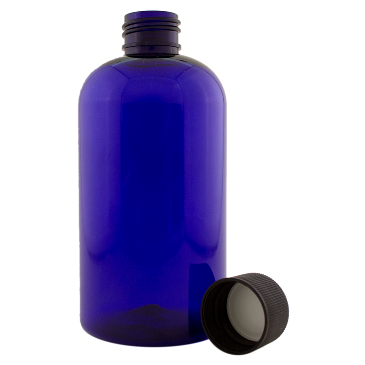 8 fl oz Cobalt Blue Plastic Bottle w/ Black Cap