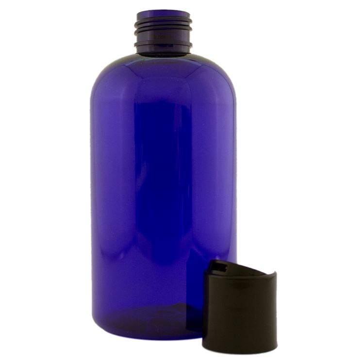 8 fl oz Cobalt Blue Plastic Bottle w/ Black Dispenser Lid