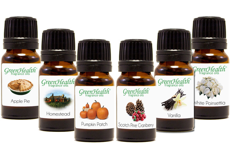 Holiday fragrance oil variety set - 10ml apple pie, 10ml homestead, 10ml pumpkin patch, 10ml scotch pine cranberry, 10ml vanilla, 10ml white poinsettia fragrance oil.