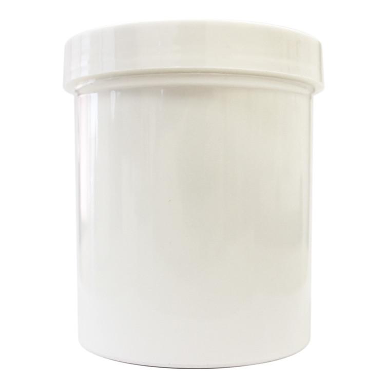 16 oz White Plastic Jar w/ Flat Lid