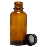 1 fl oz (30 ml) Amber Glass Bottle w/ Black Cap