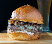 Wagyu Rump Burger with red wine caramelized onions & garlic aioli