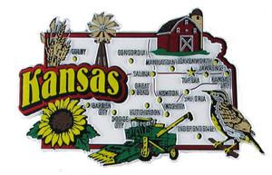 USA map state magnet - KS