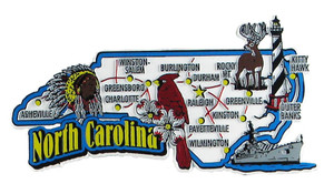 USA map state magnet - NC