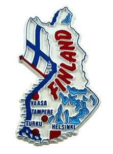 Finland country shaped magnetic map