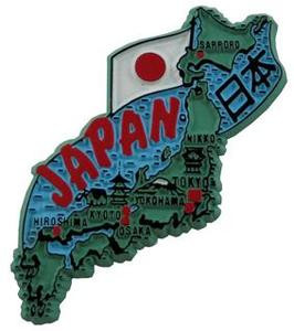 Japan country shaped magnetic map