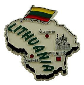 Lithuania country shaped magnetic map
