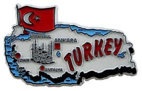 Turkey country shaped magnetic map