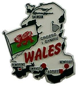 Wales GB country shaped magnetic map