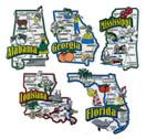AL, FL, GA, LA, MS map state magnets