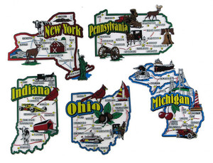 IN, MI, NY, OH, PA map state magnets