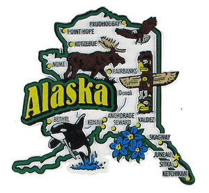 USA map state magnet - AK