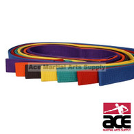 These solid colored belts are used to show rank in a Taekwondo and Karate Classroom and to show off and portray your achievements onto the onlookers. Order your Solid Color Belts from us. These belts are 1 5/8 inches wide and they feature multiple rows of stitching to prevent easy wear and tear and so that even when you have moved on onto a highger rank, you can steel keep the belt as a symbol of your achievements and your journey to Black Belt.