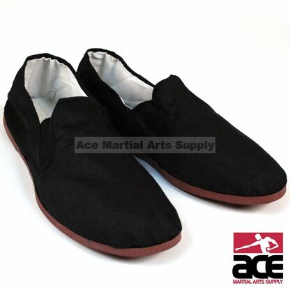 Perfect for Kung Fu training. A durable canvas construction with a strong rubber sole makes them ideal. Features a slip-on style design for comfort and easy use, and are washer machine friendly.