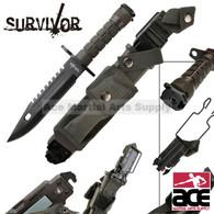 Survivor Special Ops Military Bayonet Survival Knife Black
