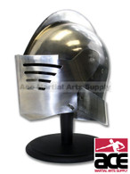 Full Size Medieval Helmet Leather Lined with Wooden Display Stand