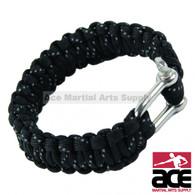 "10"" Paracord Bracelet with Metal Lock - Black"