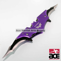 """Dual Blade Spring Assisted Batman Knife. 11"""" total length. Belt clip and line-locking system. Brand new!"""