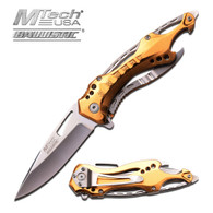 "MTECH BALLISTIC MT-A705SGD 8"" GOLD SPRING ASSISTED FOLDING KNIFE"