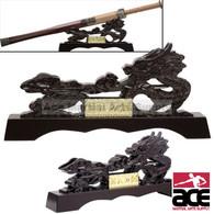 Oriental Dragon Sword Stand Mahogany