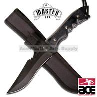 "10.25"" WOOD HANDLE BLACK HUNTING KNIFE"