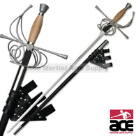 Rapier with Leather Frog Featuring Wooden Handle