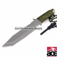 "11"" FULL TANG FIRE STARTER SURVIVAL HUNTING CAMPING KNIFE w/ FLINT"