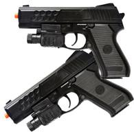 2 NEW SPRING AIRSOFT PISTOLS HAND GUN w/ LASER & LED FLASHLIGHT & 6MM BB BBs